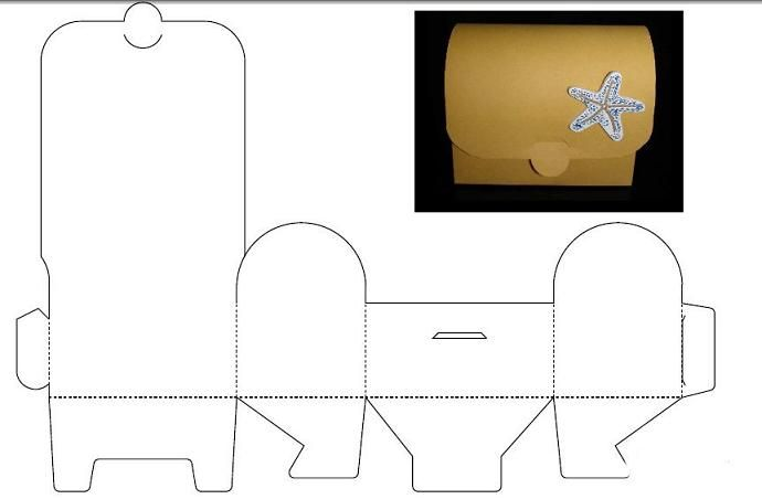 Схема сундучка из картона