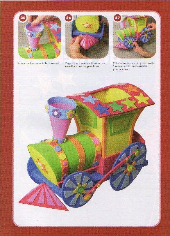Trenes infantiles en goma eva - Imagui