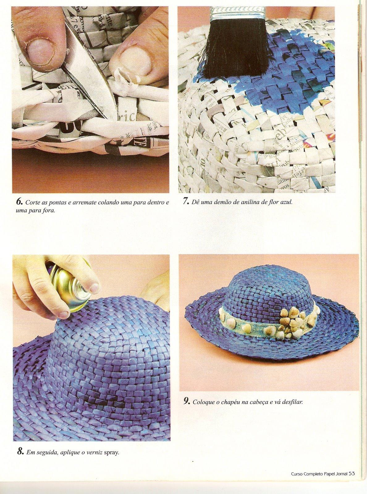 Arte con papel cestas bandejas sombreros todo hecho con papel de peri dico - Decorar cestas de mimbre paso a paso ...
