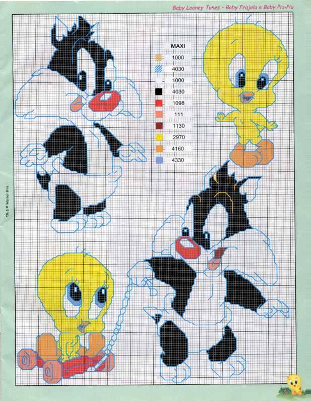 PUNTO DE CRUZ  Baby Looney Tunes