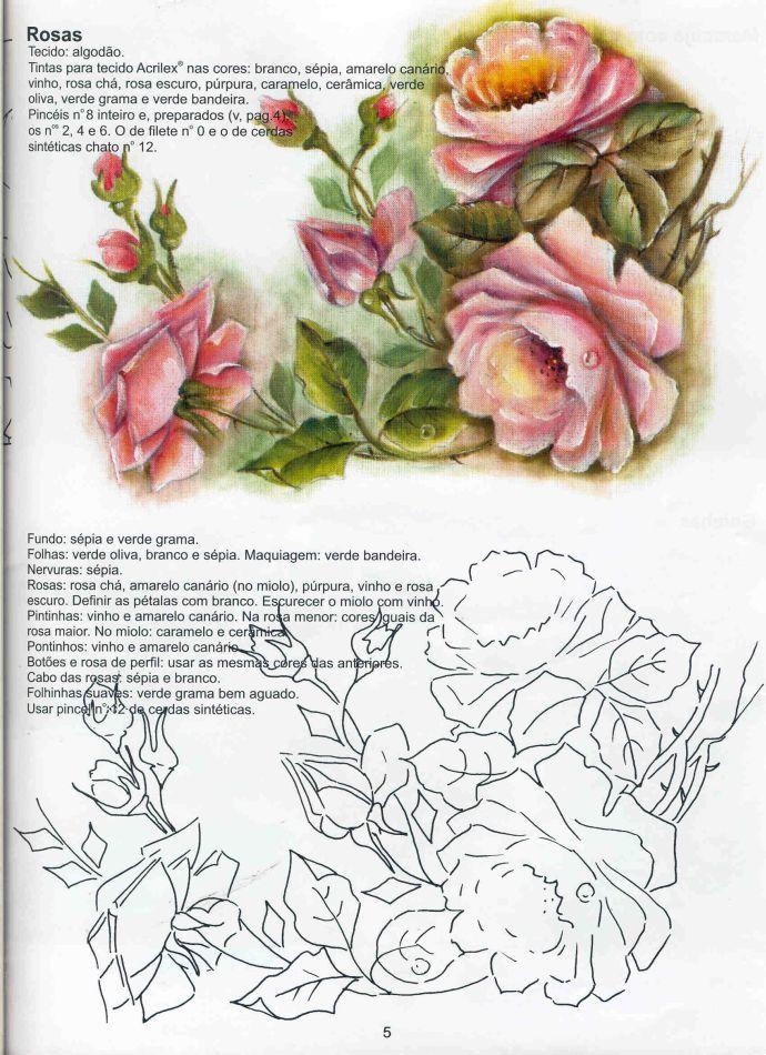 05 rosas variasmanualidades 39 s blog - Pintura en tela dibujos ...