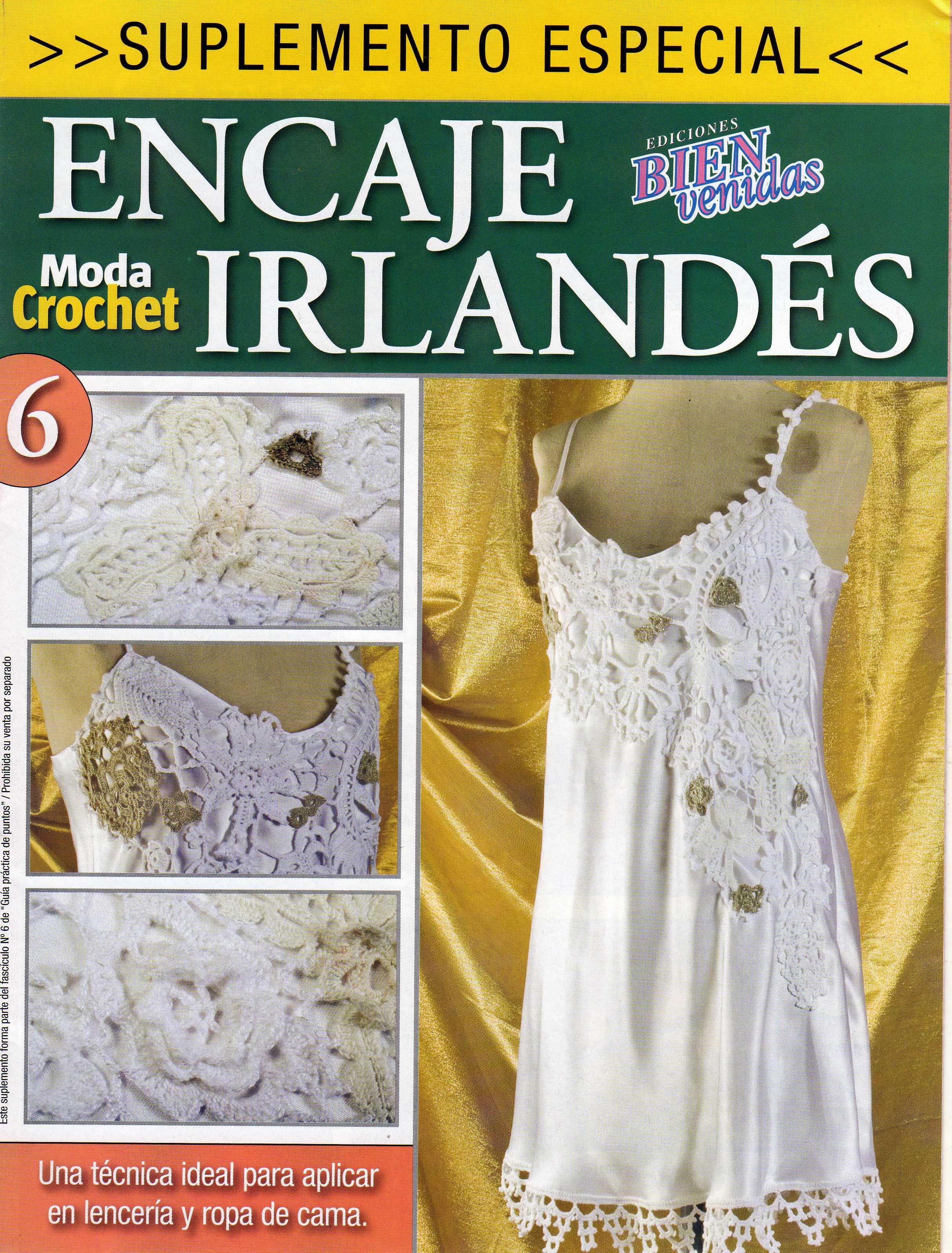 Asombroso Los Patrones De Crochet Encaje Irlandés Libre Motivo ...