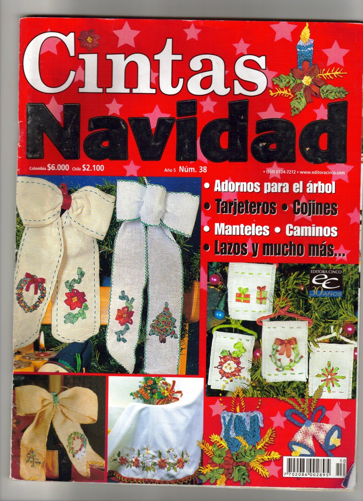 Bordado con cintas especial navidad adornos para el for Cintas de navidad