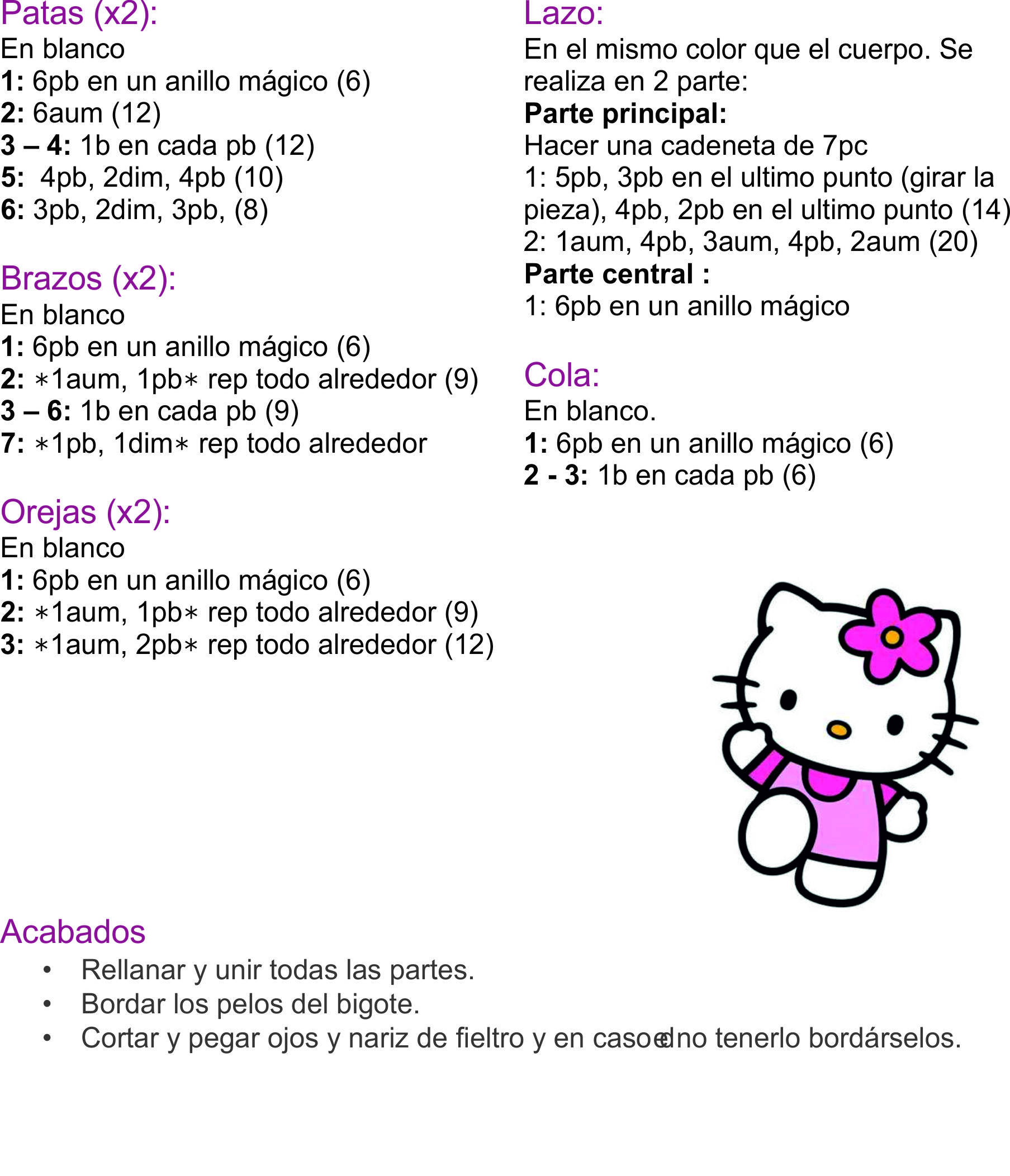 AMIGURUMIS: MINI HELLO KITTY paso a paso « Variasmanualidades\'s Blog